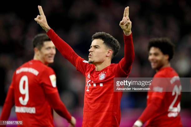 Philippe Coutinho of FC Bayern Muenchen celebrates scoring his sides sixth goal during the Bundesliga match between FC Bayern Muenchen and SV Werder...