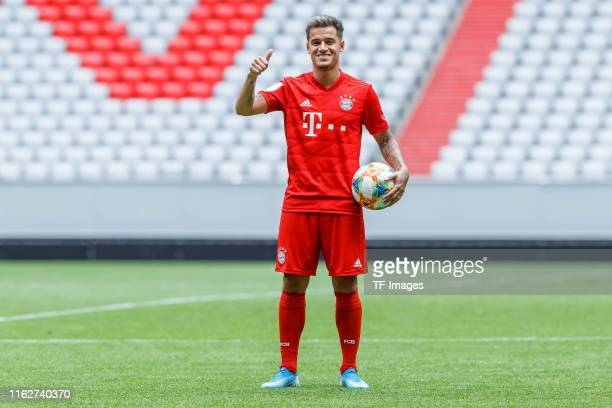 Philippe Coutinho of FC Bayern Muenchen gestures during the FC Bayern Muenchen Unveils New Signing Philippe Coutinho on August 19 2019 in Munich...
