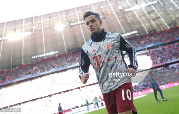Philippe Coutinho of FC Bayern Muenchen leaves the pitch after the warm-up session ahead of the Bundesliga match between FC Bayern Muenchen and FC...