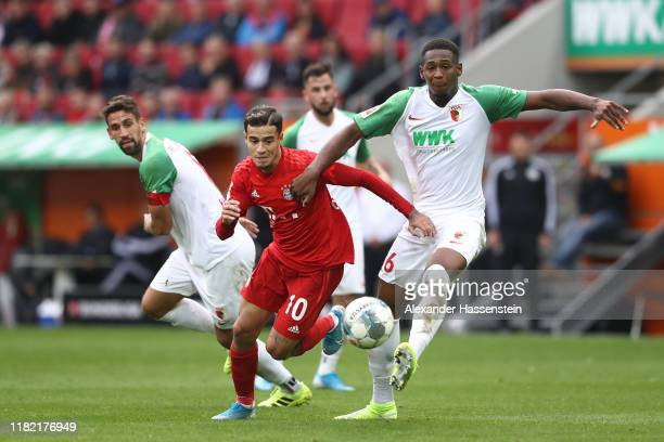 Philippe Coutinho of FC Bayern Muenchen runs with the ball during the Bundesliga match between FC Augsburg and FC Bayern Muenchen at WWK-Arena on...