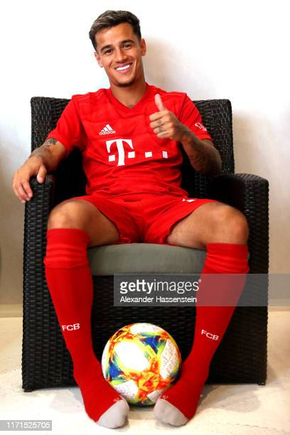 Philippe Coutinho of FC Bayern Muenchen smiels during the FC Bayern Muenchen and Paulaner photo session at FGV Schmidtle Studios on September 01 2019...