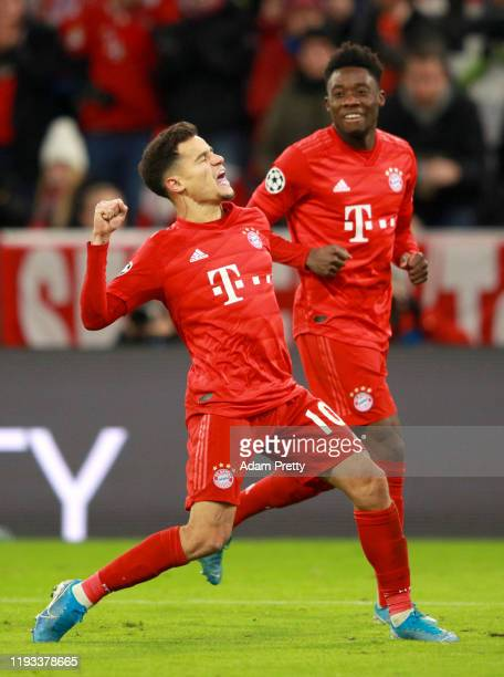 Philippe Coutinho of FC Bayern Munich celebrates after scoring his team's third goal during the UEFA Champions League group B match between Bayern...