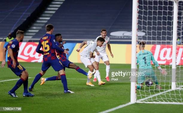 Philippe Coutinho of FC Bayern Munich scores his team's eighth goal during the UEFA Champions League Quarter Final match between Barcelona and Bayern...
