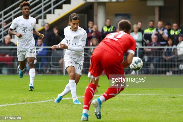 Philippe Coutinho of FC Bayern Munich scores his team's second goal during the Bundesliga match between SC Paderborn 07 and FC Bayern Muenchen at...