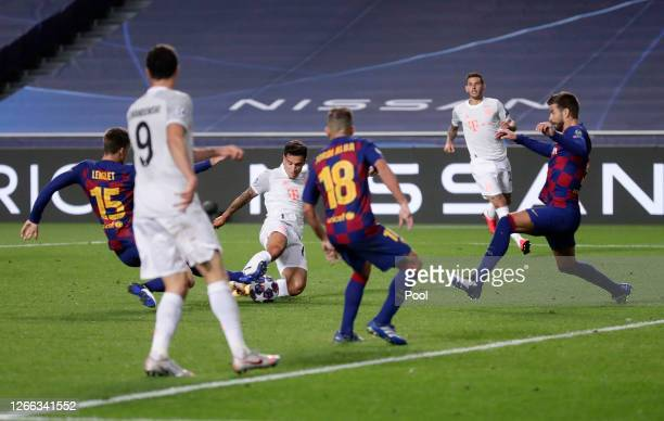 Philippe Coutinho of FC Bayern Munich scores his team's seventh goal during the UEFA Champions League Quarter Final match between Barcelona and...
