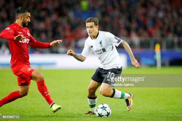 Philippe Coutinho of Liverpool and Aleksandr Samedov of Spartak Moscow in action during the UEFA Champions League match between Spartak Moscow and...