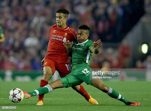 Philippe Coutinho of Liverpool and Anicet Abel of Ludogorets Razgrad