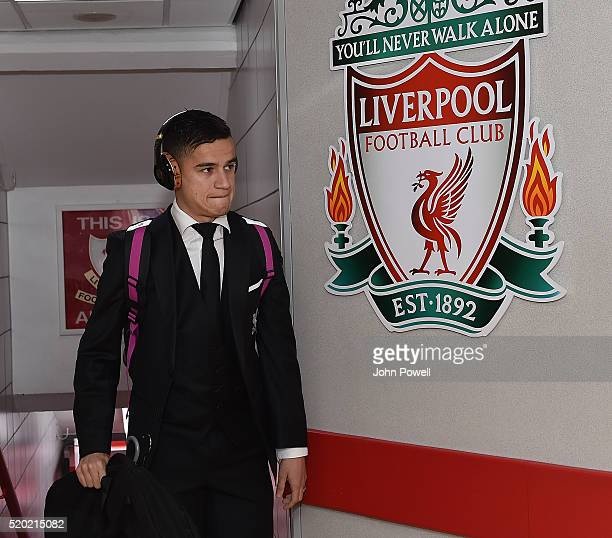 Philippe Coutinho of Liverpool arrives before the Barclays Premier League match between Liverpool and Stoke City at Anfield on April 10 2016 in...