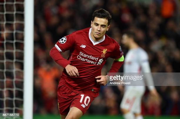 Philippe Coutinho of Liverpool celebrates after scoring a goal during the UEFA Champions League group E match between Liverpool FC and Spartak Moskva...