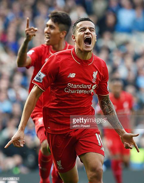 Philippe Coutinho of Liverpool celebrates after scoring during the Barclays Premier League match between Chelsea and Liverpool at Stamford Bridge on...