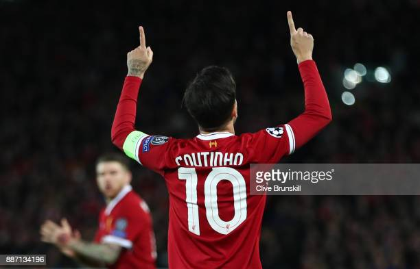 Philippe Coutinho of Liverpool celebrates after scoring his sides secong goal during the UEFA Champions League group E match between Liverpool FC and...