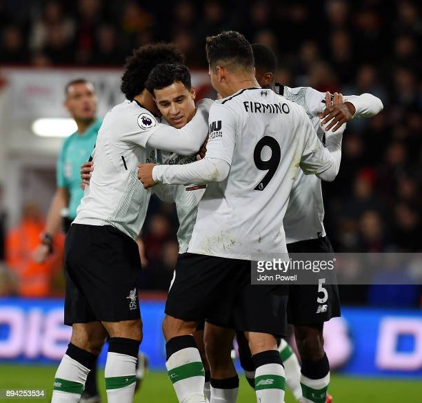 Philippe Coutinho of Liverpool celebrates after scoring the opening goal during the Premier League match between AFC Bournemouth and Liverpool at...