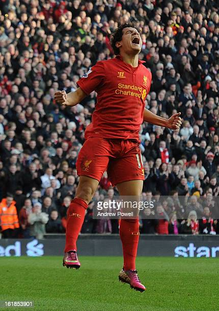 Philippe Coutinho of Liverpool celebrates his goal during the Barclays Premier League match between Liverpool and Swansea City at Anfield on February...