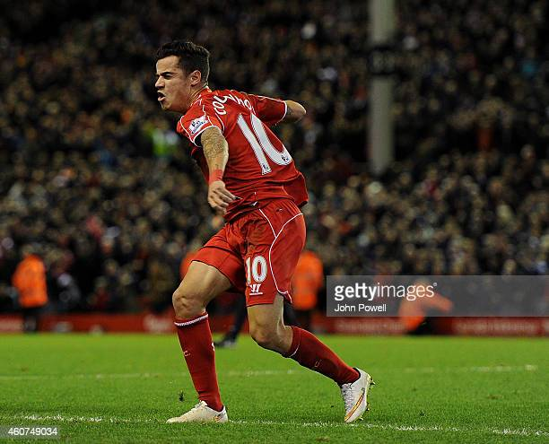 Philippe Coutinho of Liverpool celebrates his goal to make it 10 during the Barclays Premier League match between Liverpool and Arsenal at Anfield on...