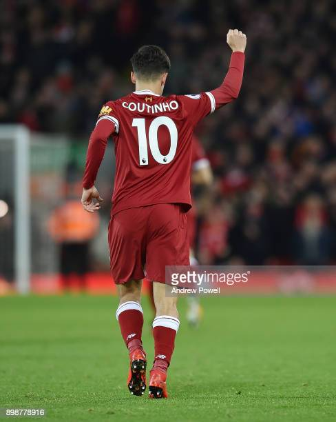 Philippe Coutinho of Liverpool Celebrates the opening goal between Liverpool and Swansea City at Anfield on December 26 2017 in Liverpool England