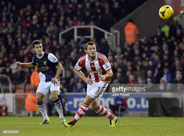 Philippe Coutinho of Liverpool comes close during the Barclays Premier Leauge match between Stoke City and Liverpool at the Britannia Stadium on...