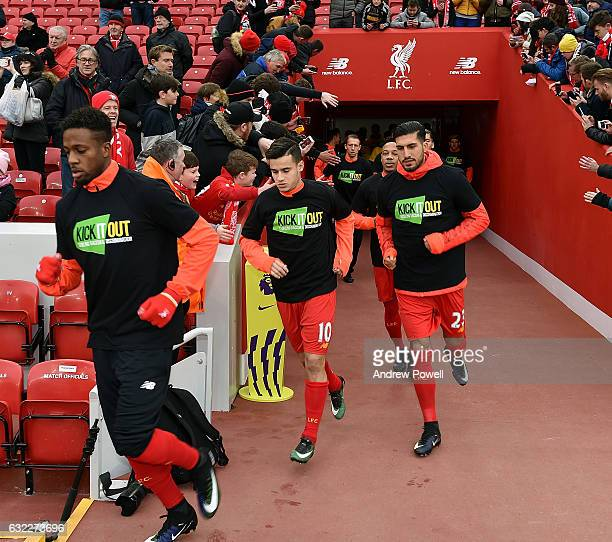 Philippe Coutinho of Liverpool comes out to warm up before the Premier League match between Liverpool and Swansea City at Anfield on January 21 2017...