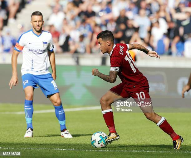 Philippe Coutinho of Liverpool controls the ball during the Preseason Friendly match between Hertha BSC and FC Liverpool at Olympiastadion on July 29...