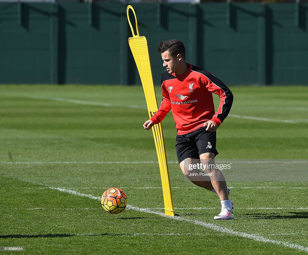 Philippe Coutinho of Liverpool during a training session at Melwood Training Ground on March 31, 2016 in Liverpool, England.