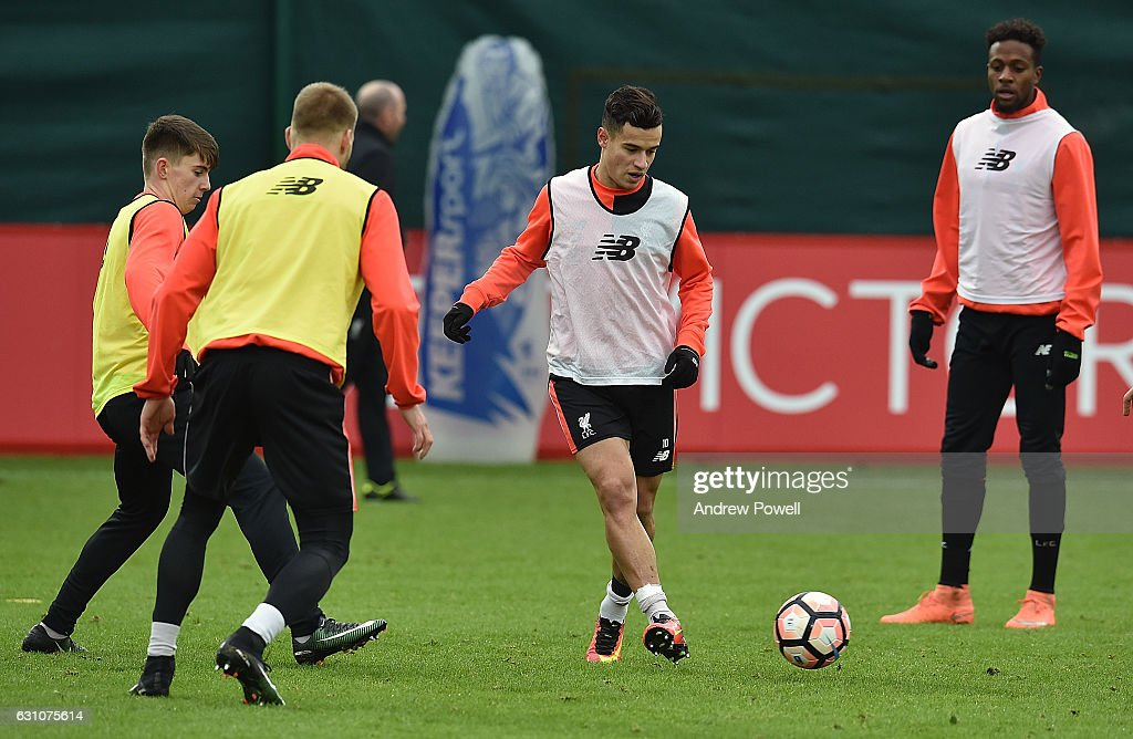 Philippe Coutinho of Liverpool during a training session at Melwood Training Ground on January 6, 2017 in Liverpool, England.