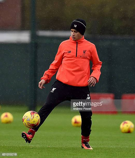 Philippe Coutinho of Liverpool during a training session at Melwood Training Ground on January 9 2017 in Liverpool England