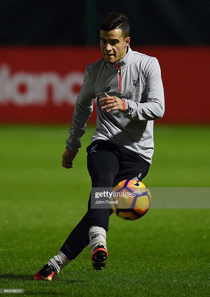 Philippe Coutinho of Liverpool during a training session at Melwood Training Ground on January 20, 2017 in Liverpool, England.