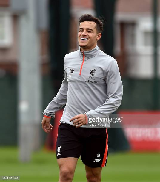 Philippe Coutinho of Liverpool during a training session at Melwood Training Ground on April 3 2017 in Liverpool England