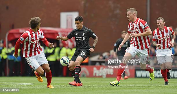 Philippe Coutinho of Liverpool during the Barclays Premier League match between Stoke City and Liverpool at the Britannia Stadium on May 24 2015 in...
