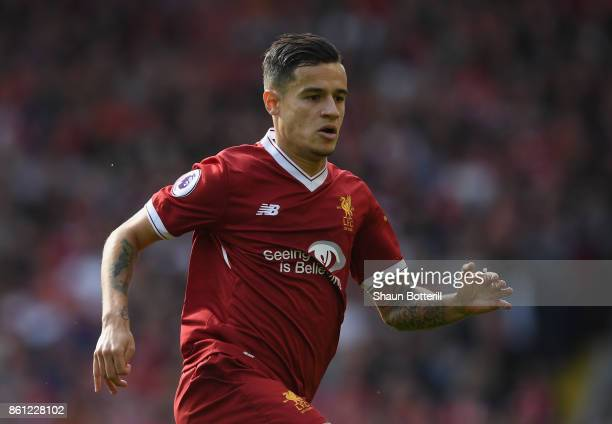 Philippe Coutinho of Liverpool during the Premier League match between Liverpool and Manchester United at Anfield on October 14 2017 in Liverpool...