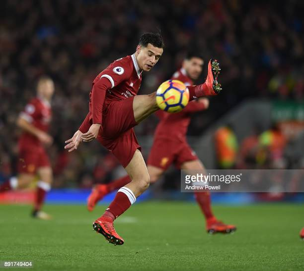 Philippe Coutinho of Liverpool during the Premier League match between Liverpool and West Bromwich Albion at Anfield on December 13 2017 in Liverpool...