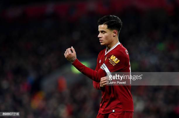 Philippe Coutinho of Liverpool during the Premier League match between Liverpool and Swansea City at Anfield on December 26 2017 in Liverpool England