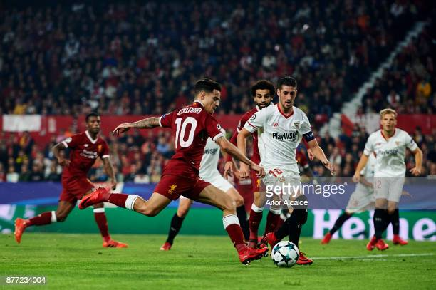 Philippe Coutinho of Liverpool FC in action during the UEFA Champions League group E match between Sevilla FC and Liverpool FC at Estadio Ramon...