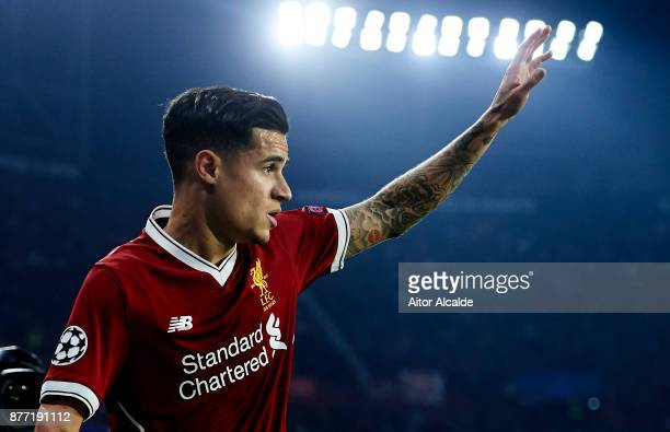 Philippe Coutinho of Liverpool FC reacts during the UEFA Champions League group E match between Sevilla FC and Liverpool FC at Estadio Ramon Sanchez...
