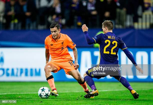 Philippe Coutinho of Liverpool FC vs Martin Milec of NK Maribor during UEFA Champions League 2017/18 group E match between NK Maribor and Liverpool...