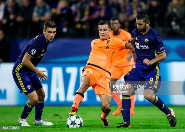 Philippe Coutinho of Liverpool FC vs Marwan Kabha of NK Maribor during UEFA Champions League 2017/18 group E match between NK Maribor and Liverpool...