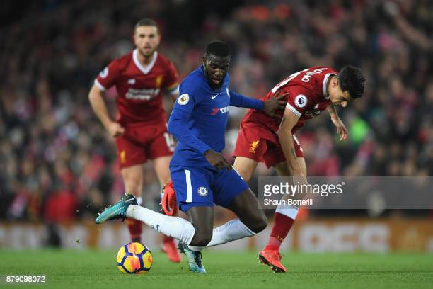 Philippe Coutinho of Liverpool fouls Tiemoue Bakayoko of Chelsea during the Premier League match between Liverpool and Chelsea at Anfield on November...