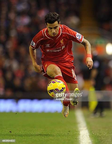 Philippe Coutinho of Liverpool in action during the Barclays Premier League match between Liverpool and Swansea City at Anfield on December 29 2014...