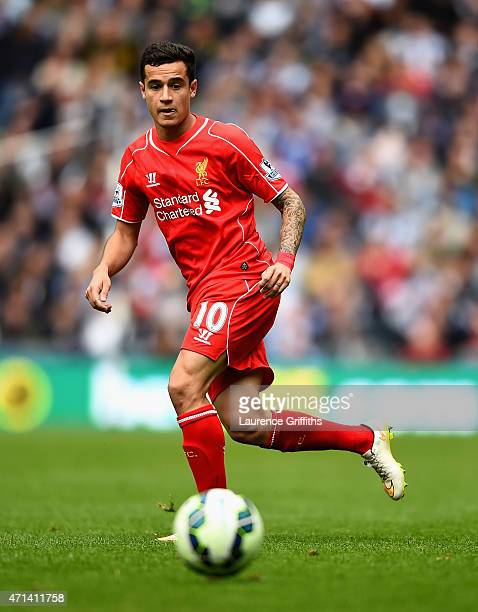 Philippe Coutinho of Liverpool in action during the Barclays Premier League match between West Bromwich Albion and Liverpool at The Hawthorns on...