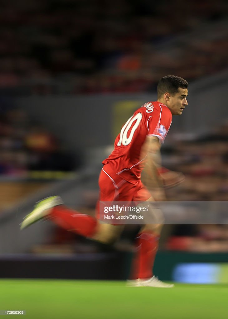 Philippe Coutinho of Liverpool in action during the Barclays Premier League match between Liverpool and Newcastle United at Anfield on April 13, 2015 in Liverpool, England.