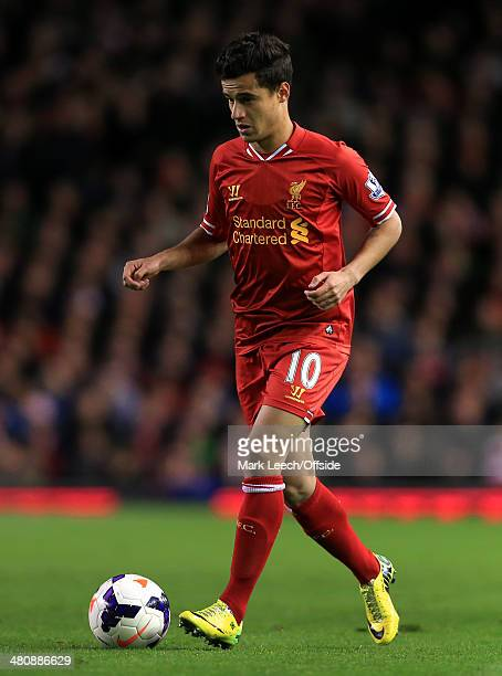 Philippe Coutinho of Liverpool in action during the Barclays Premier League match between Liverpool and Sunderland at Anfield on March 26 2014 in...