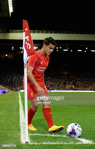 Philippe Coutinho of Liverpool in action during the Capital One Cup Fourth Round match between Liverpool and Swansea City at Anfield on October 28...