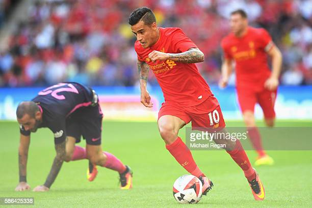 Philippe Coutinho of Liverpool in action during the International Champions Cup match between Liverpool and Barcelona at Wembley Stadium on August 6...