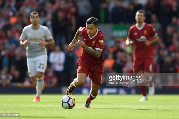 Philippe Coutinho of Liverpool in action during the Premier League match between Liverpool and Manchester United at Anfield on October 14 2017 in...