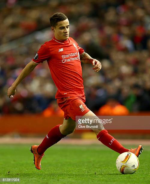 Philippe Coutinho of Liverpool in action during the UEFA Europa League Round of 32 Second Leg match between Liverpool and FC Augsburg at Anfield on...
