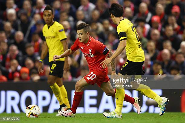 Philippe Coutinho of Liverpool in action during the UEFA Europa League quarter final second leg match between Liverpool and Borussia Dortmund at...