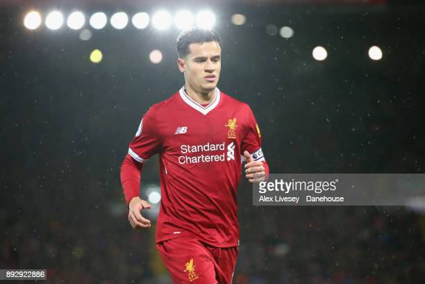 Philippe Coutinho of Liverpool looks on during the Premier League match between Liverpool and West Bromwich Albion at Anfield on December 13 2017 in...