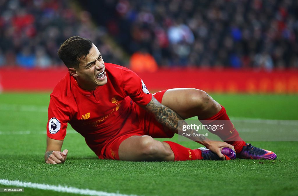 Philippe Coutinho of Liverpool reacts during the Premier League match between Liverpool and Sunderland at Anfield on November 26, 2016 in Liverpool, England.