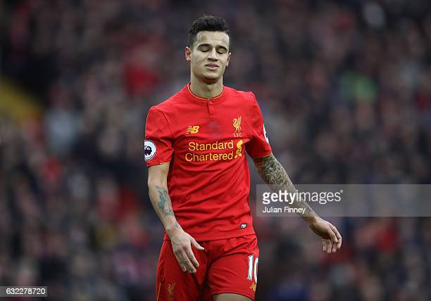 Philippe Coutinho of Liverpool reacts during the Premier League match between Liverpool and Swansea City at Anfield on January 21 2017 in Liverpool...