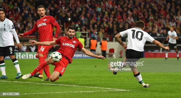 Philippe Coutinho of Liverpool scores a goal during the UEFA Champions League group E match between Spartak Moskva and Liverpool FC at Otkrytije...