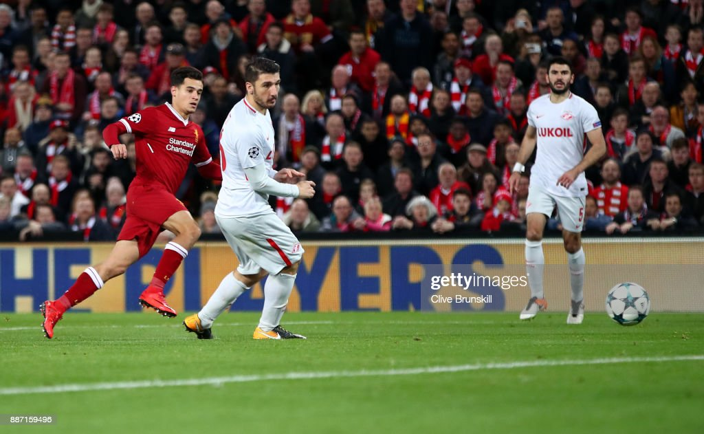 Philippe Coutinho of Liverpool scores his sides fifth goal during the UEFA Champions League group E match between Liverpool FC and Spartak Moskva at Anfield on December 6, 2017 in Liverpool, United Kingdom.